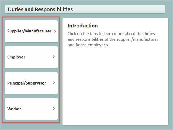 1.5 Duties and Responsibilities Click on the tabs to learn about the