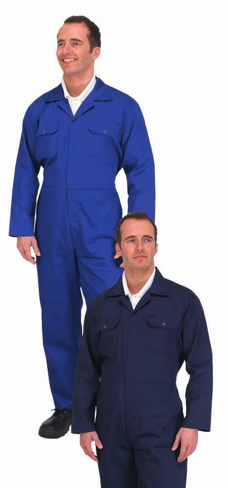 All prices in this Catalogue exclude VAT WORKWEAR WORK SAFE POLYCOTTON BOILERSUIT Manufactured in lightweight polycotton fabic Two side swing pockets. Rule pocket. Concealed stud front. Pletex back.
