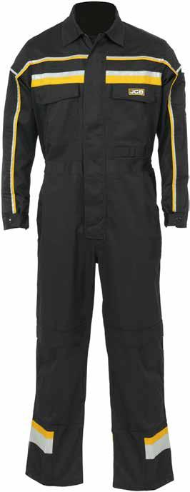 HOLLINGTON Coverall C-BK/C-BL Chest pockets with fastening Front zip fastening with concealed studded over flap Stud adjusters at cuffs for best fit Hi-Vis piping on chest & sleeves Pocket Handy tool