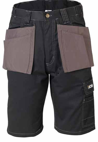 KEELE Shorts D-WT Rear pocket Comfort fit waistband Front tool holster pockets All pockets double stitched Triple stitched seams for durability Reinforced thigh tool pocket with Velcro fastening