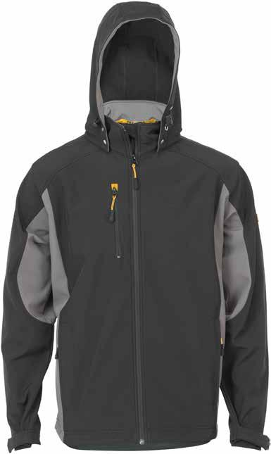 STRETTON Soft Shell Jacket D-WI Detachable hood with drawstring Windproof, breathable and water repellent Internal stormflap for added protection Extended back for greater comfort Adjustable cuffs