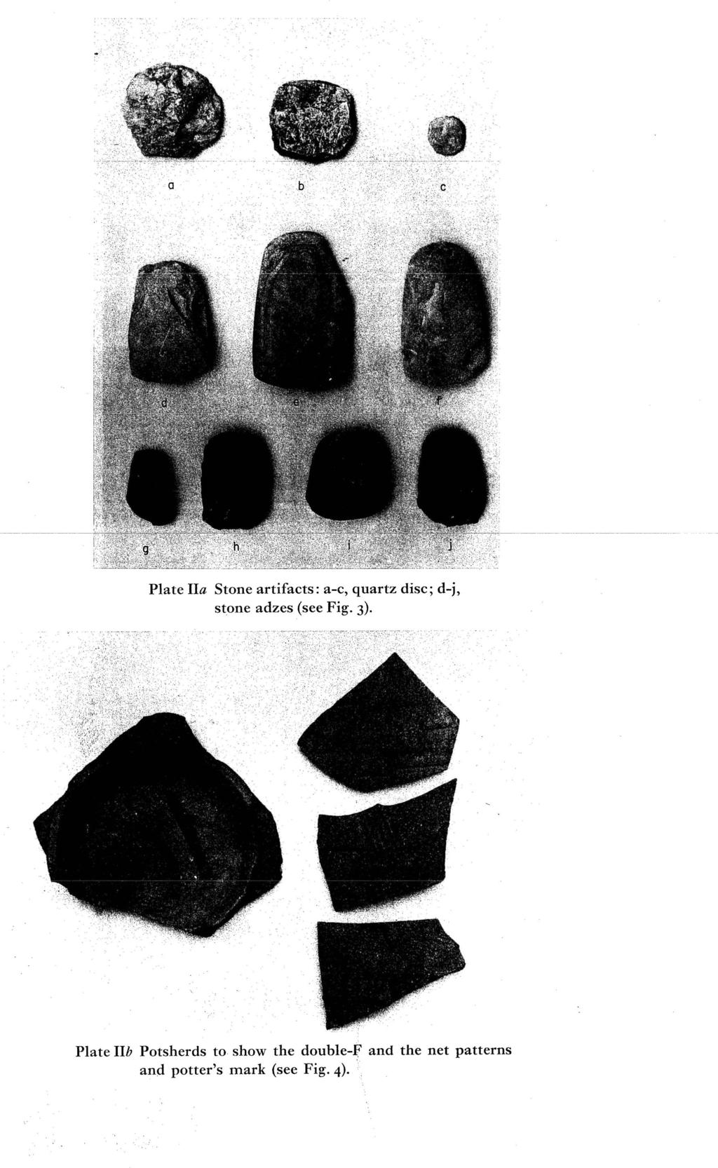 Plate IIa Stone artifacts: a-c, quartz disc; d-j, stone adzes (see Fig. 3).