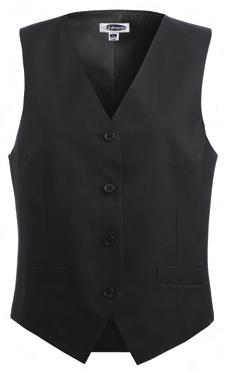V-neck, self-fabric back, fully lined Economy Vest: two functional front pockets,