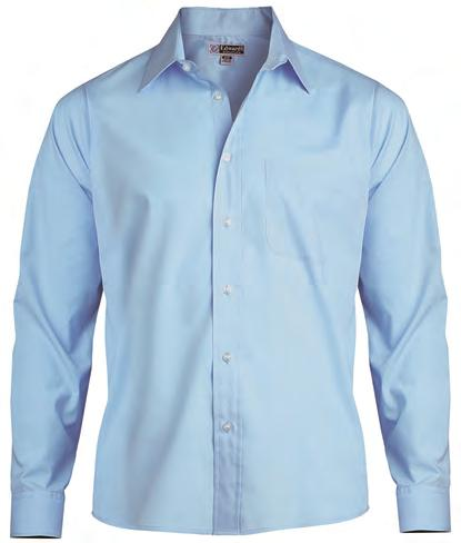 point collar, dyed-to-match buttons, straight back yoke seam and adjustable two-button cuff Men s has left