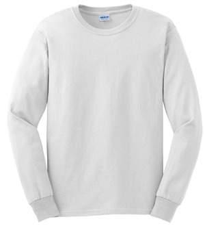 Size: S-3XL White Long Sleeve White T-Shirt Navy screen print full front