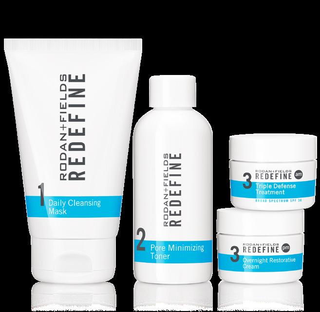 (NMFs) through vitamins A, C and E and other vital skin nutrients THE -STEP REDEFINE REGIMEN REDEFINE Daily Cleansing Mask Creamy, Kaolin Clay-based cleansing mask dries