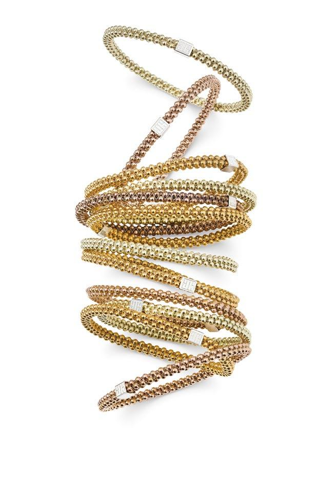 John Humphries halo bangles available in rose, green and yellow gold