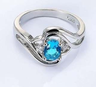 Blue Topaz & Diamond CZ Ring