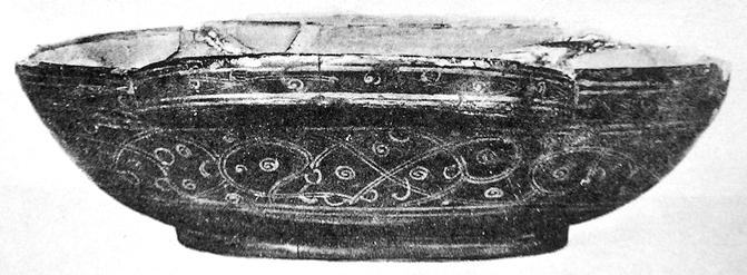 Fig. 4. Wine cup from Noin Ula tomb 23. Mid-first century CE. State Hermitage Museum, St. Petersburg (photograph after Umehara 1960, pl. 63).
