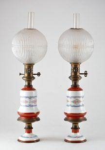171 PAIR OF PETROL LAMPS - NAPOLEON III Pair of petrol lamps and their stands, with a