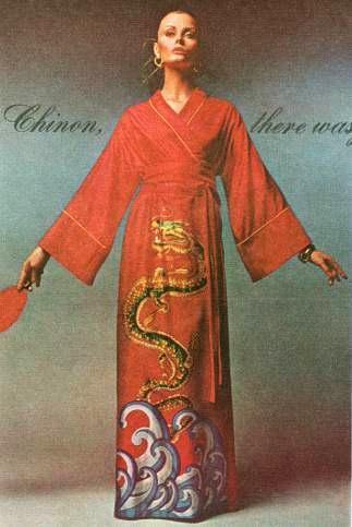 An advertisement by Toyobo s Chinon illustrated an original style of Hanfu with a dragon embroidered pattern on the gown (Figure 4.26c). a. 1972 (11) p.