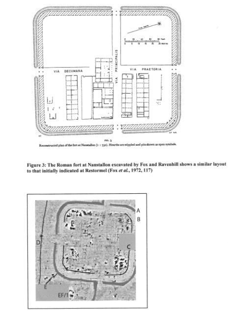 excavated in the 60s and this is a plan of the site with a Restormel geophysics to compare, Courtesy of Peter Nicholas again established around AD55, the barrack blocks can be clearly seen, as can