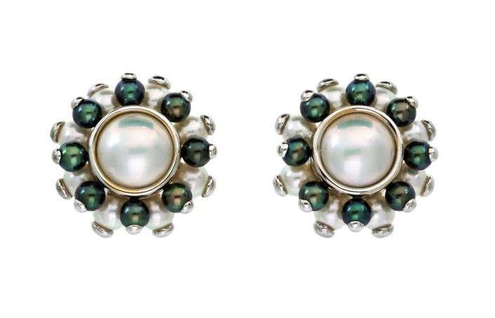 Sale 421 Lot 61 A Pair of 18 Karat White Gold, Cultured and Mabe Pearl Earclips, Verdura, containing two bezel set mabe pearls measuring approximately 12.09-12.