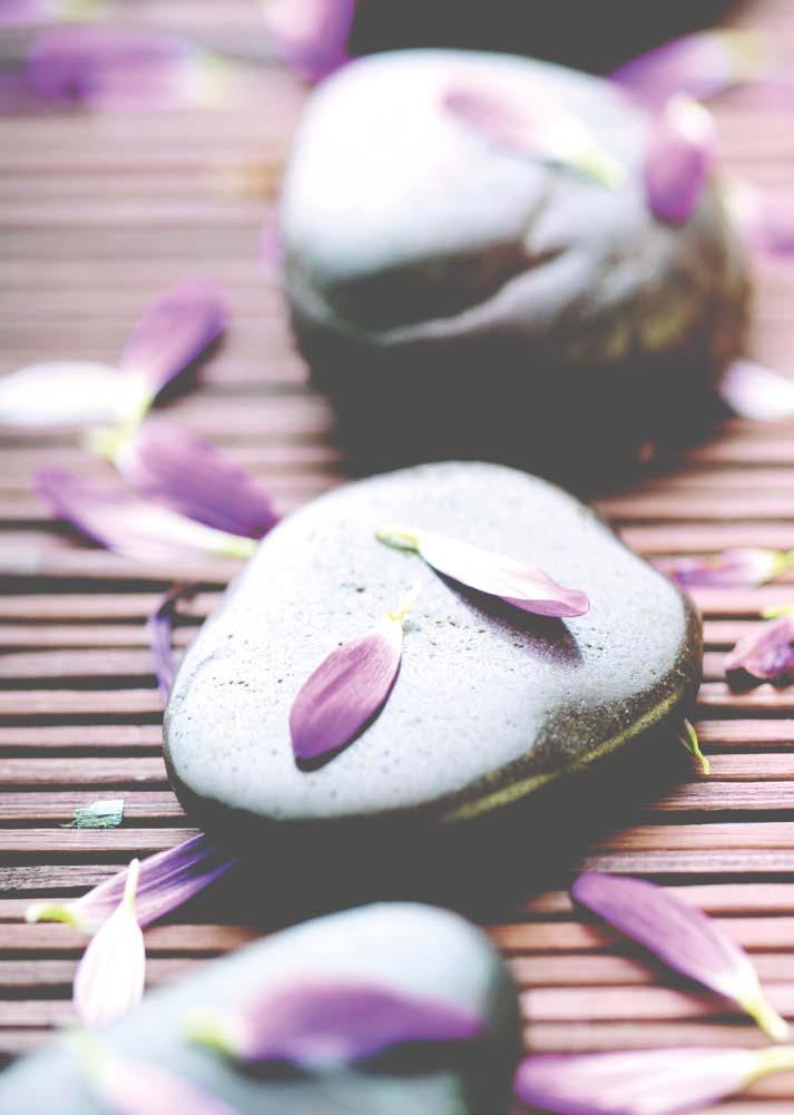 06 07 HOT STONES MASSAGE Deeply relaxing. Vital energy points are massaged with bespoke oils and volcanic hot stones to release deep seated tension and re-store balance and harmony.