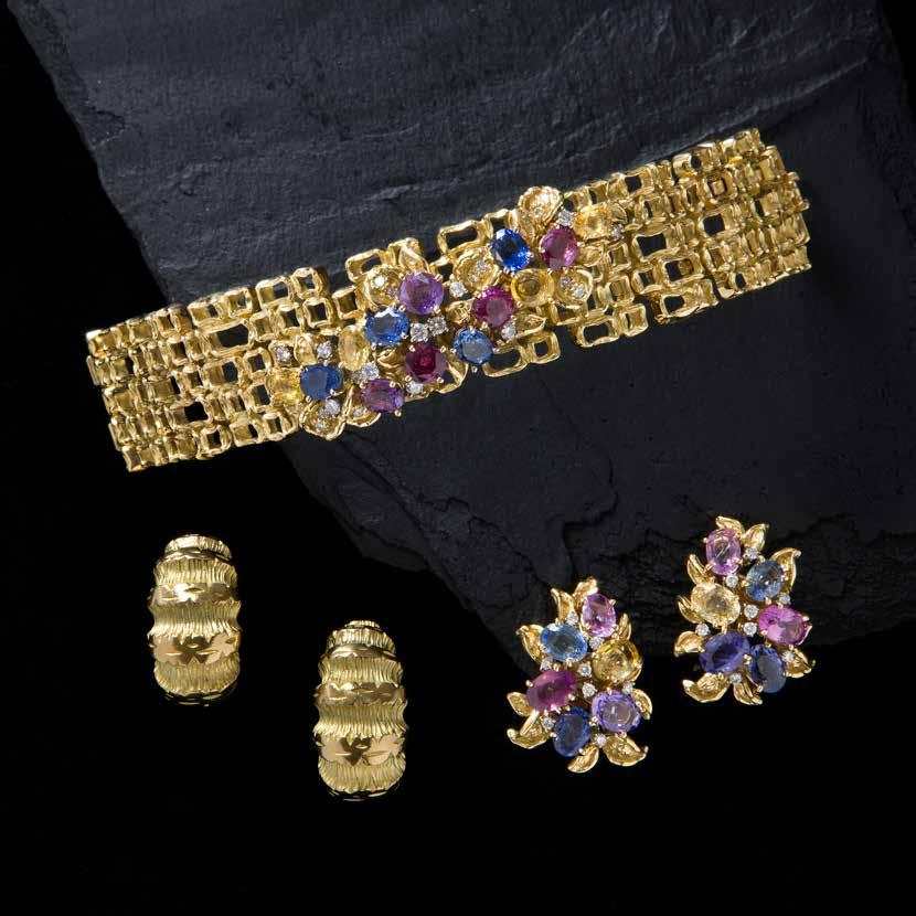Bracelet set with diamonds & multi-coloured sapphires circa 1970 Earrings set