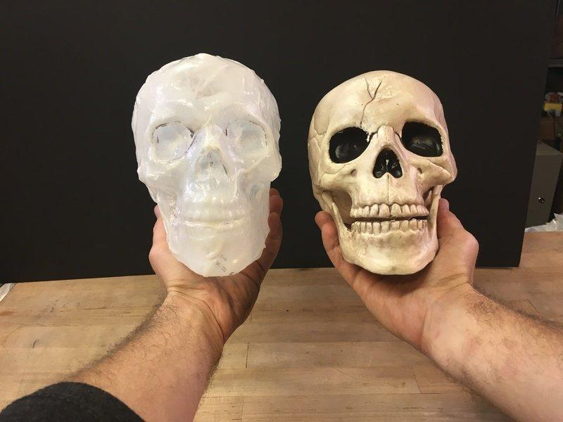 Build the Skull The process of making the heat-formed milk jug skull is straightforward -- you'll be using a heat gun to melt the