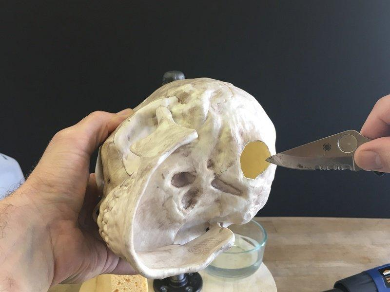 Glue the Jaw The original prop skull may have a movable jaw -- you can use a