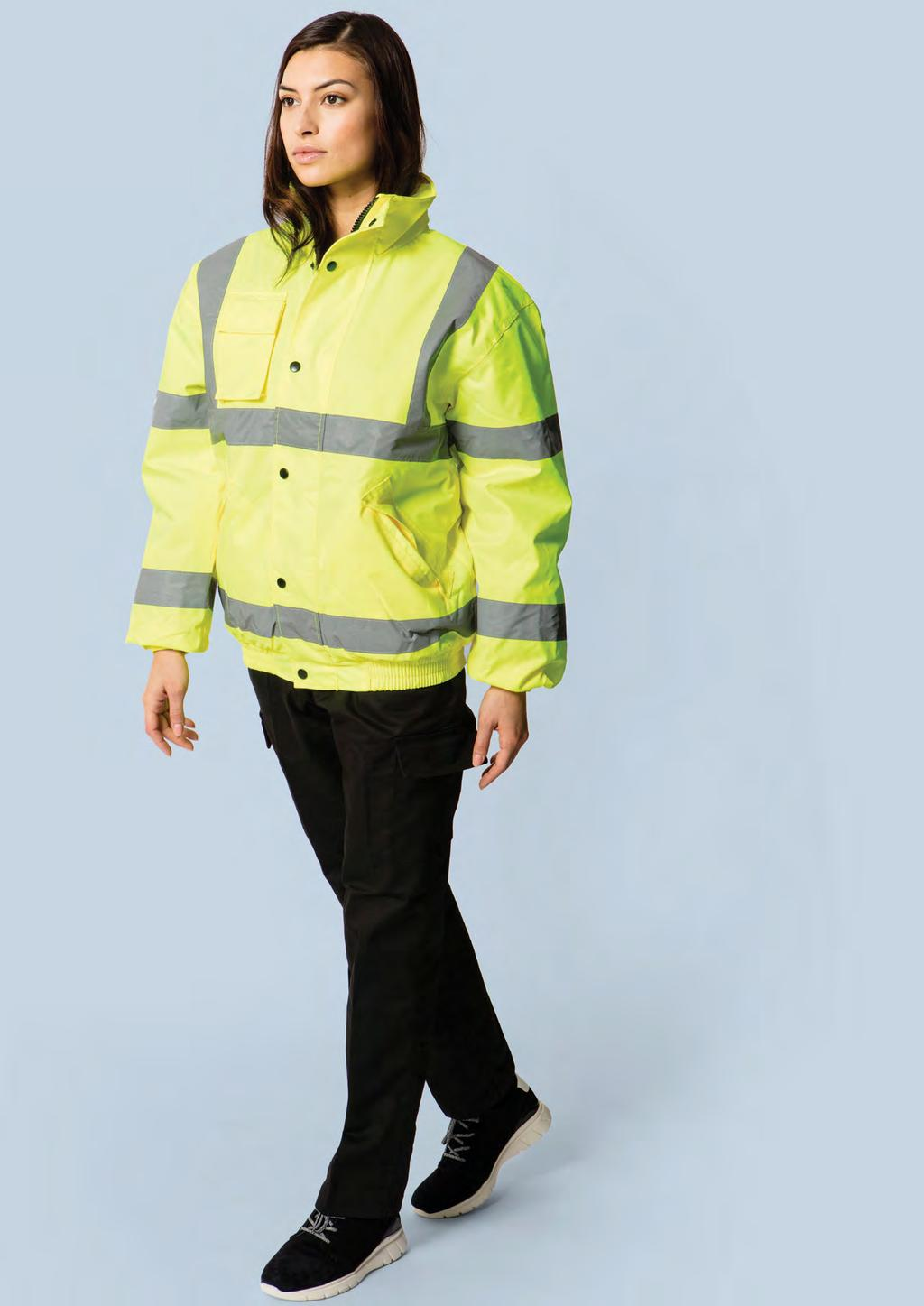 HI-VIS UC804 UNISEX HIGH VISIBILITY BOMBER JACKET 300 DENIER 40 10/1 EN ISO 20471:2013 Class 3 Approved EN 343 Class 3:1 Approved GO/RT 3279 Issue 8 (Orange Only) Conforming to 89/686/ EEC Directive