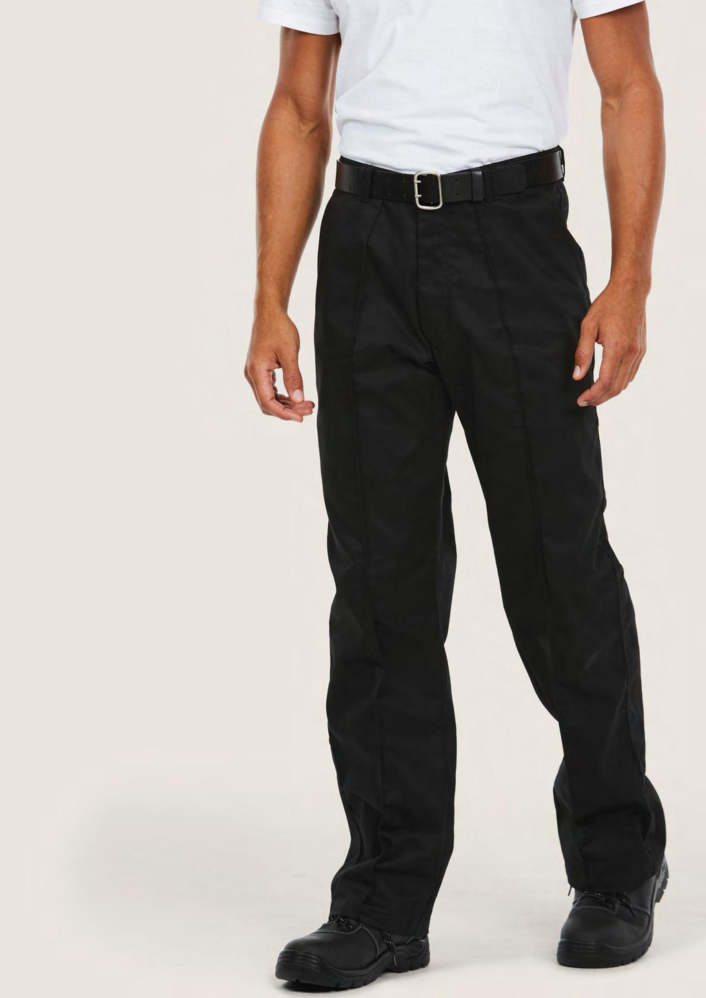 TROUSERS UC901 UNISEX WORKWEAR TROUSER 245 60 25/5 65% Polyester 35% Cotton Fabric: 245 /7 oz Flat front with sewn-in front crease Two Front Pockets Rear buttoned back pocket Metal rivet button