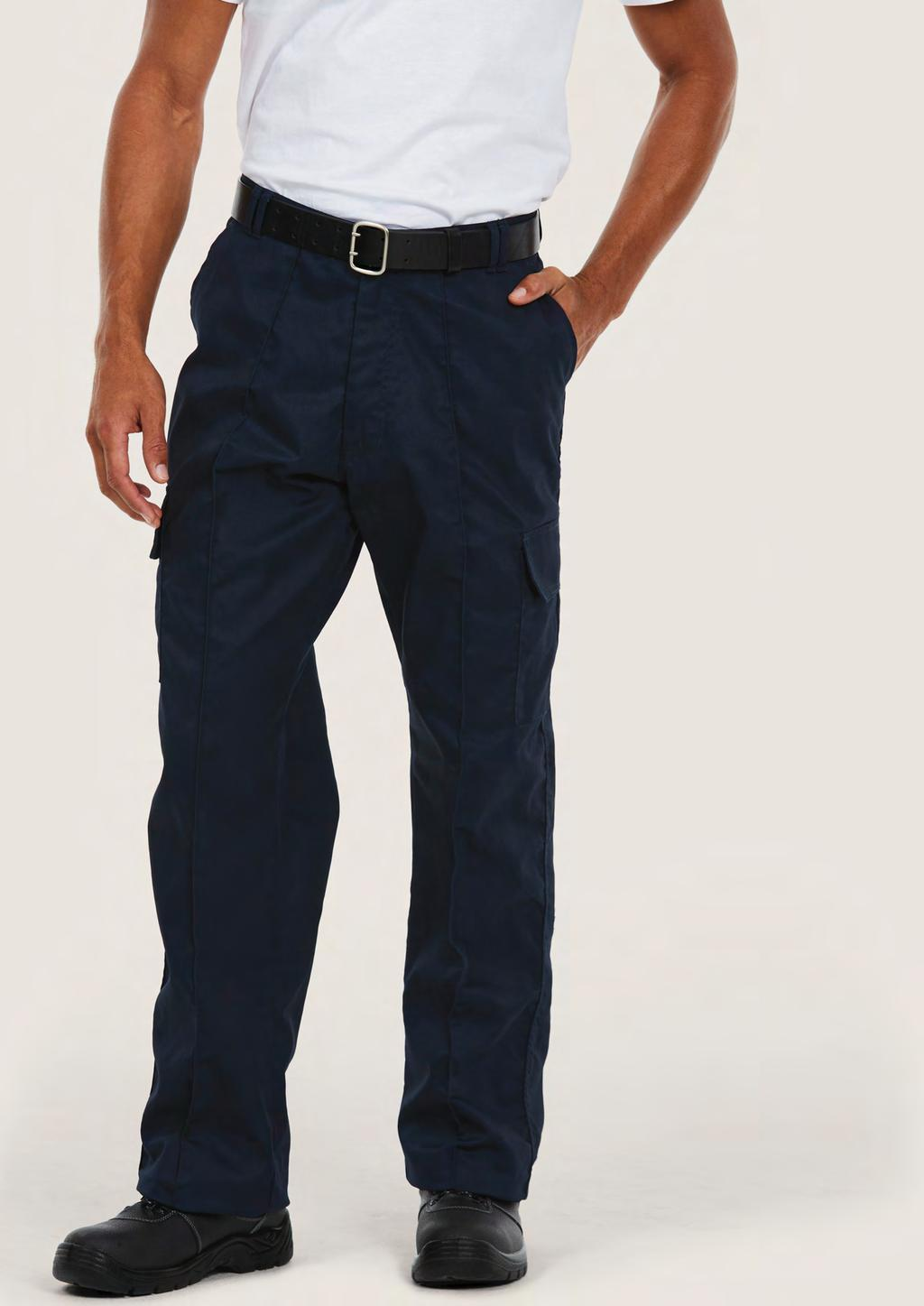 TROUSERS UC902 UNISEX CARGO TROUSER 245 60 25/5 65% Polyester 35% Cotton Fabric: 245 /7 oz Flat front with sewn-in front crease 2 side & 2 rear pockets with velcro flaps 2 thigh pockets with velcro