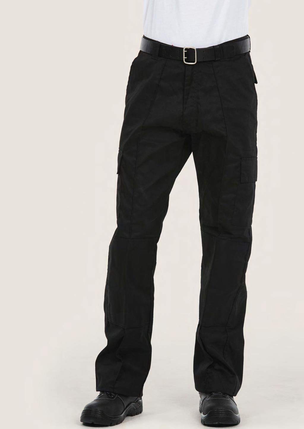TROUSERS UC904 UNISEX CARGO TROUSER WITH KNEE PAD POCKETS 245 60 25/5 65% Polyester 35% Cotton Fabric: 245 /7 oz Flat front with sewn-in front crease 2 side & 2 rear pockets with velcro flaps 2 thigh