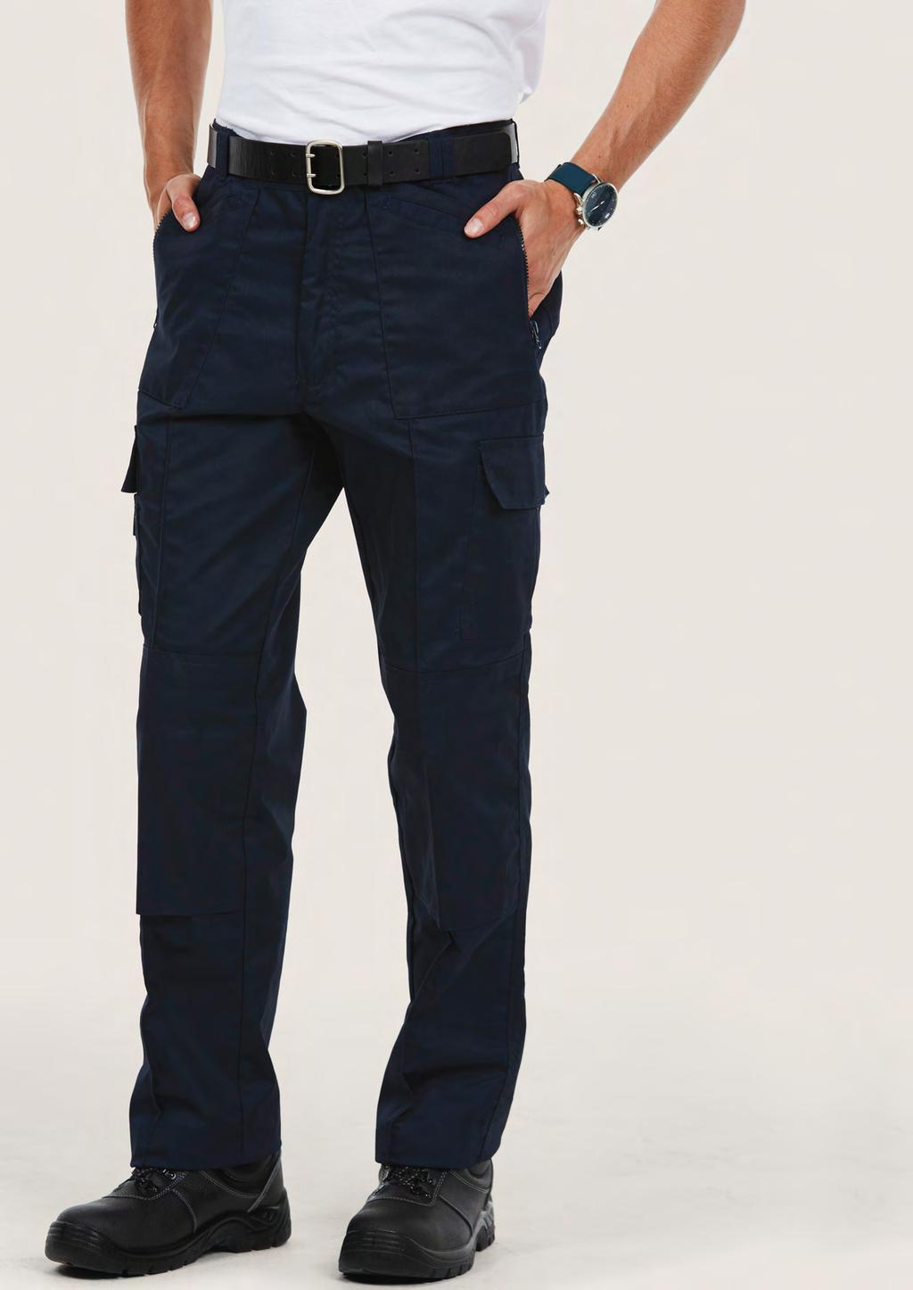 TROUSERS UC903 UNISEX ACTION TROUSER 245 60 25/5 65% Polyester 35% Cotton Fabric: 245 /7 oz Flat front with sewn-in front crease Four Slanted front pockets Two Side Zipped Pockets Two thigh pockets