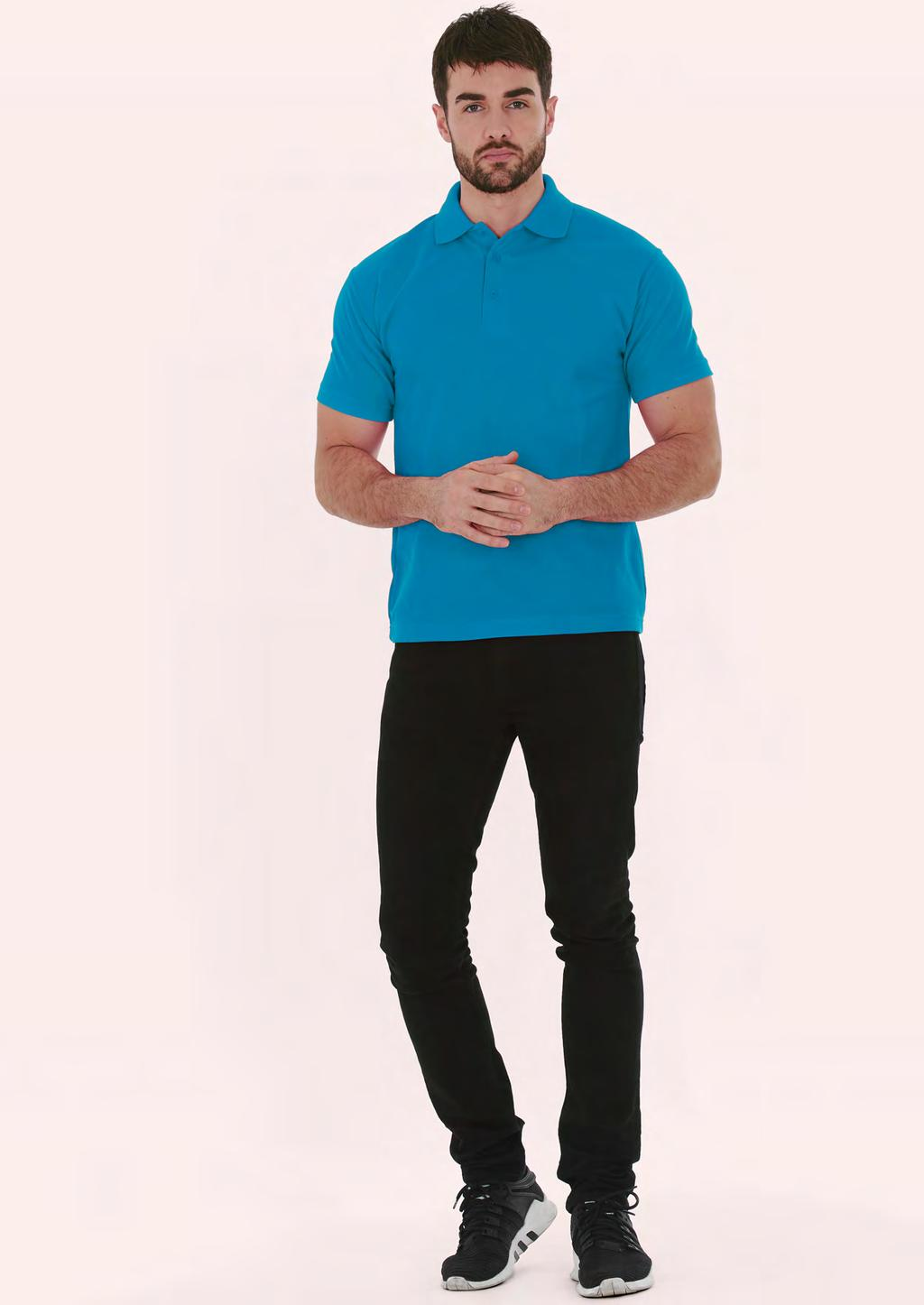 POLOSHIRTS UC114 MENS ULTRA POLOSHIRT NEW 180 40 60/10 100% Pre-Shrunk Ringspun Combed Cotton Reactive Dyed Knitted Collar and Cuff Taped Neck Twin Needle Stitching on Hem Washable at 40 Degrees 3