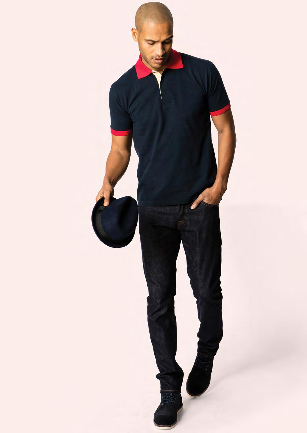 POLOSHIRTS UC107 UNISEX CONTRAST POLOSHIRT 250 40 40/10 100% Ring Spun Combed Cotton Reactive Dyed Contrast Collar, Cuffs & Placket Knitted Collar & Cuffs Half Moon
