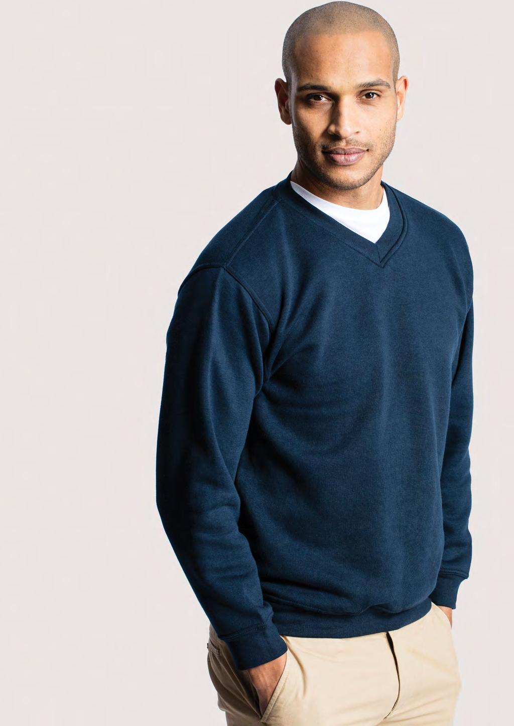 SWEATSHIRTS UC204 UNISEX PREMIUM V-NECK SWEATSHIRT 300 60 30/10 50% Polyester 50% Cotton Reactive Dyed V-Neck Set in Sleeve Lycra Ribbed Cuffs, Welt & Neck Twin Needle Stitching at Neck, Shoulders,
