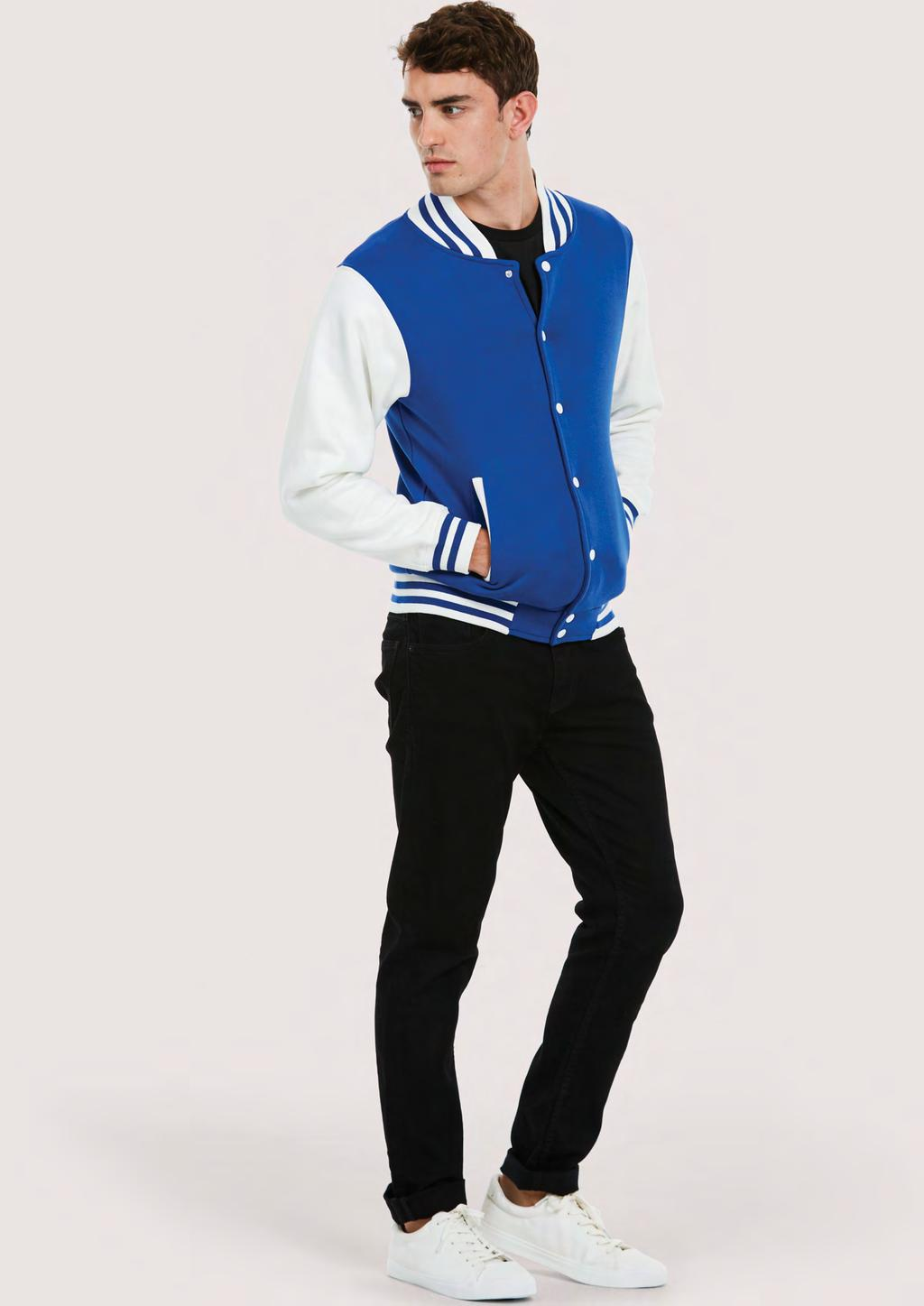 SWEATSHIRTS UC525 MENS VARSITY JACKET 300 40 25/5 50% Polyester 50% Cotton Long Sleeve Collared Neckline Fastening Buttons Two Side Pockets Elasticated Ribbed Cuffs & Welt
