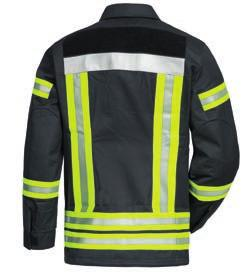 hem with drawstring back with Velcro for name badge sleeves with reinforced elbows flame-retardant lining.