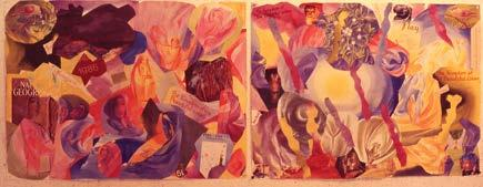 watercolor pictures of only beautiful colors. The two large colláges, which featured pieces whose cut-out forms and patterns imitated typical forms repeated in anthroposophical designs (e.g., irregular pentagons, vortices, and human gestures) and were titled A Fond Farewell to the Kingdom of Beautiful Colors.