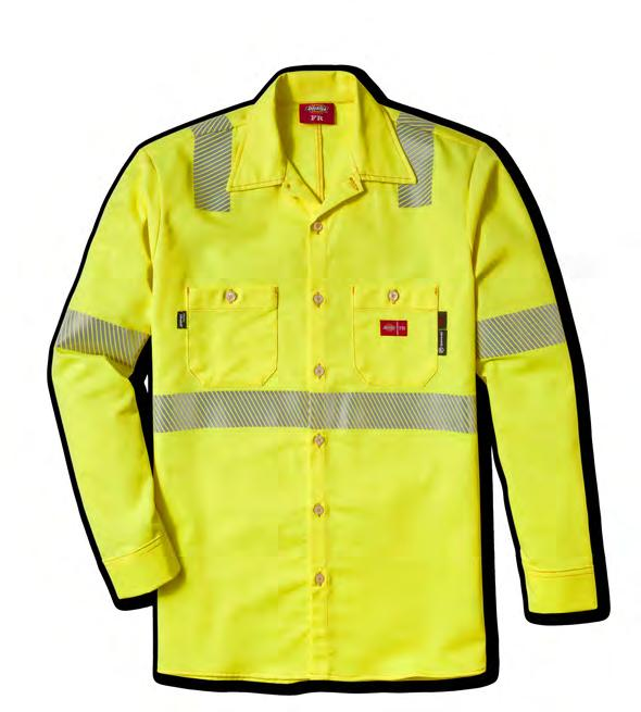 pockets with button closures Style 49UT70 Fabric: UltraSoft / 7 oz Color: Hi-Vis Yellow Size Code: L ANSI R 9.