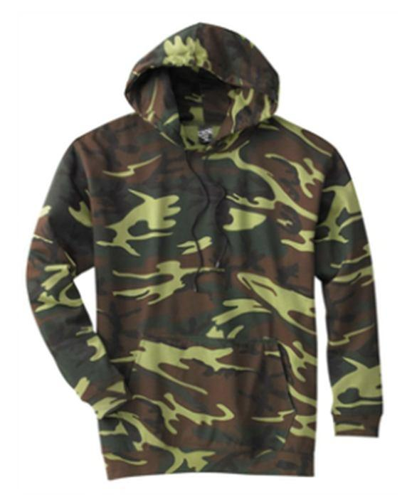 Camouflage Hoodie Sweatshirt With digital printed chest logo, 7.5 oz., 60% cotton, 40% polyester, pouch pocket and fleece-lined hood, and cover stitched 2 1X1 ribbed cuffs and bottom band.