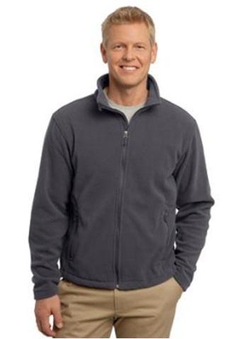 8oz, 100% polyester, contoured silhouette, front zippered pockets, Interior pockets, and twill-taped neck.