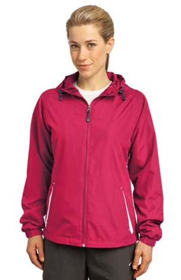 Ladies Sport-Tek Colorblock Hooded Jacket With embroidered chest logo, 100% polyester shell, jersey lining, contoured silhouette,