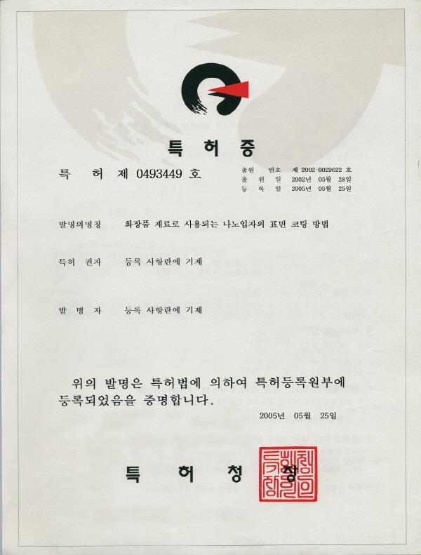 Synergy Effect of Nano Complex < Korean Patent No. 0493449 > 1.