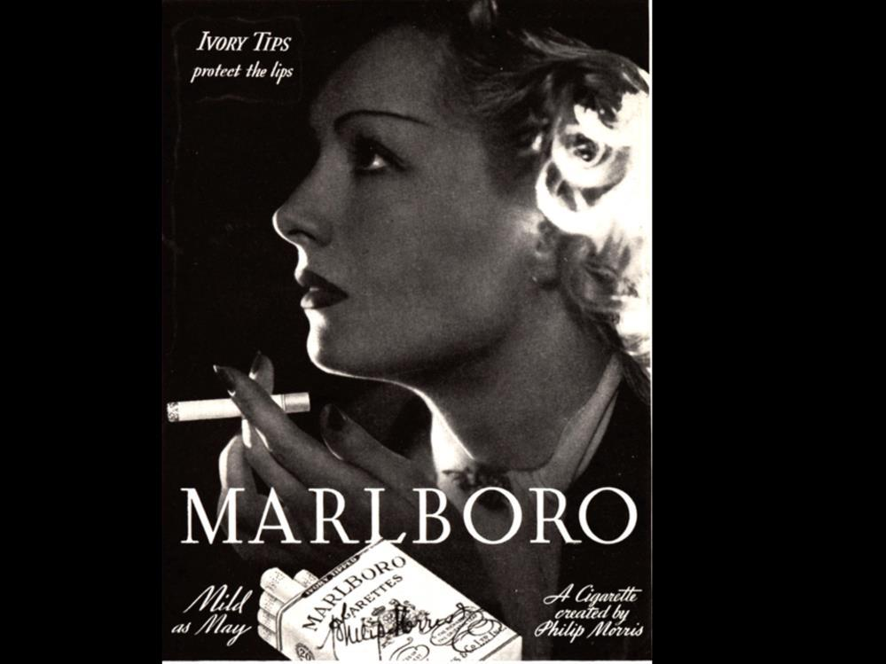 Date: 1935 Brand: Marlboro Manufacturer: Philip Morris Campaign: Mild As May, Ivory Tips Theme: Let s Smoke Girls Key Phrase: Ivory Tips protect the lips Marlboro, Philip Morris, Mild,