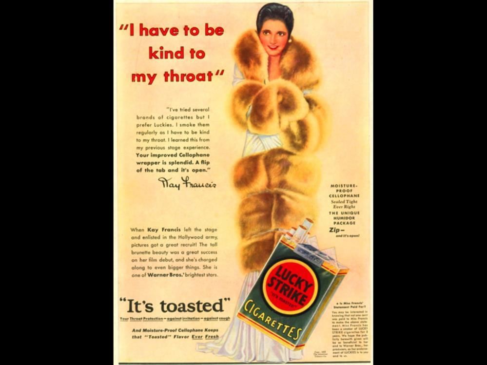 Date: 1931 Brand: Manufacturer: Campaign: Theme: Key Phrase: recruit Lucky Strike The American Tobacco Co., It s Toasted, Your throat protection - against irritation cough.