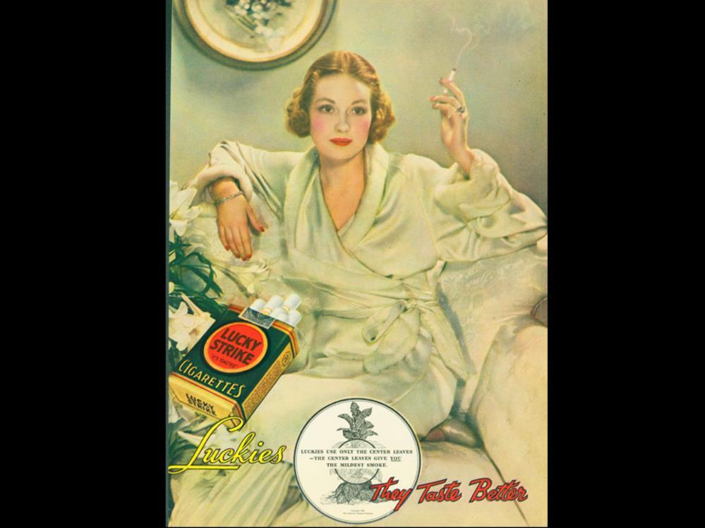 Date: 1931 Brand: Lucky Strike Manufacturer: The American Tobacco Co. Campaign: It s Toasted, They Taste better, Luckies are all-ways ind to your throat.