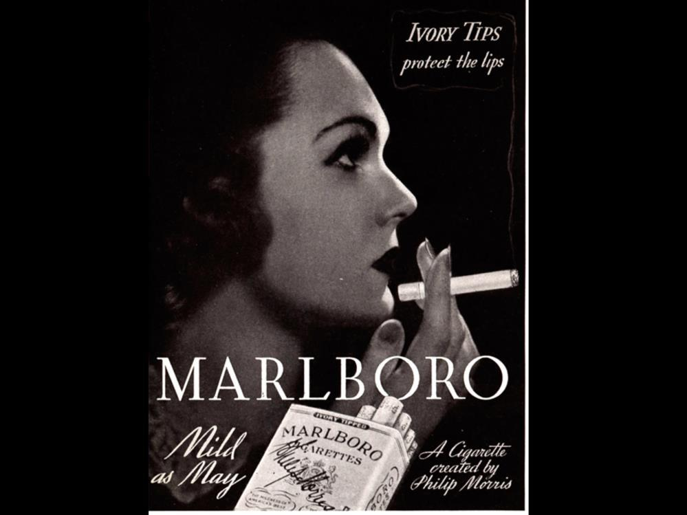 Date: 1935 Brand: Marlboro Manufacturer: Philip Morris Campaign: Mild as May, Ivory Tips Theme: Let s Smoke Girls Key Phrase: Ivory tips protect the lips, Mild as May, A cigarette created by Philip