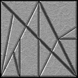 "!""#! $#% Figure: 2 Stomachion pieces layed out on a 12x12 grid. Figure: 3 Stomachion pieces as they would look when cut from hard material and layed out as a square."