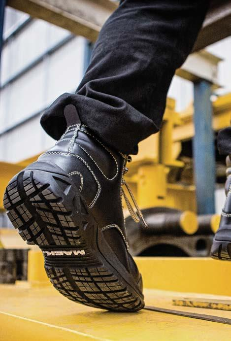 SPECIALTY FOOTWEAR GRANITE II Protects against impacts from above, below and the side Metatarsal guard and ankle guard Penetration resistant ADAPT sole technology for rough terrain AS/NZS 2210.