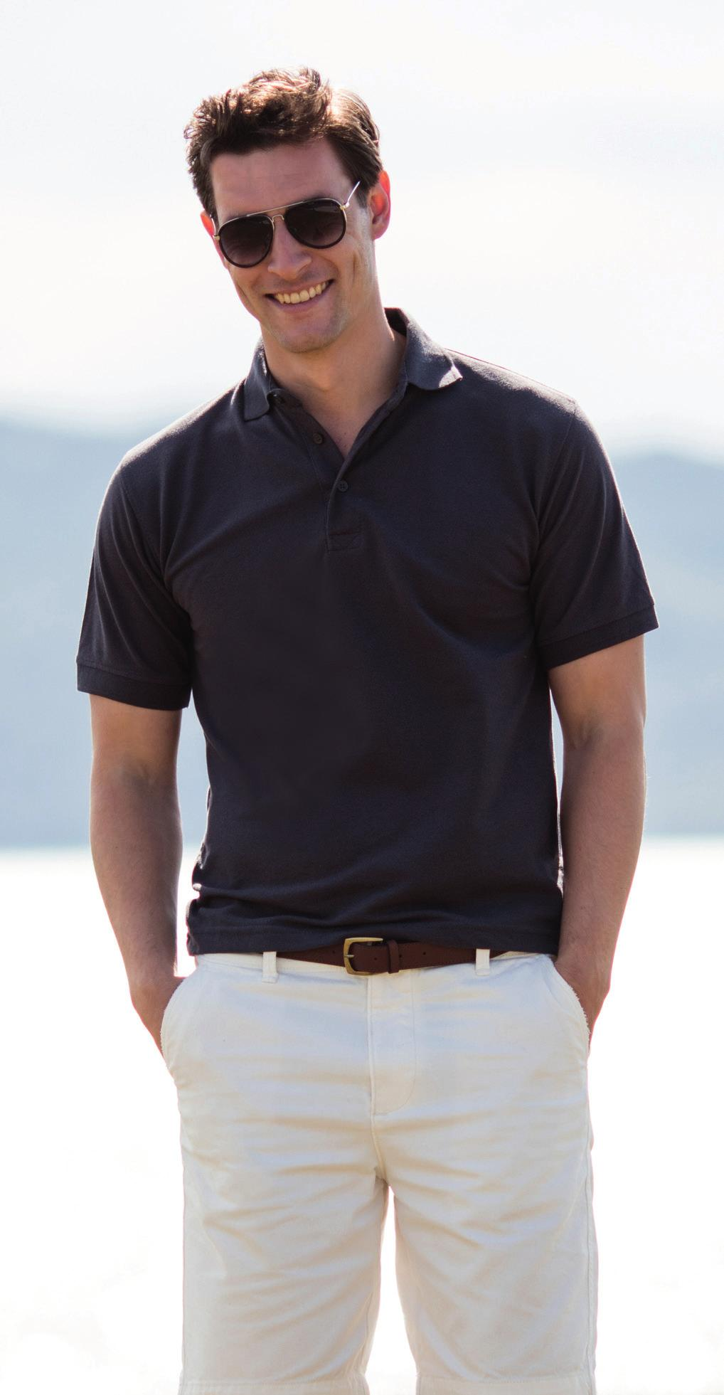 65/35 CLASSIC PIQUE POLO SHIRT H400 H401 Durable heavyweight pique. Classic 3 button placket. Dyed to match buttons.