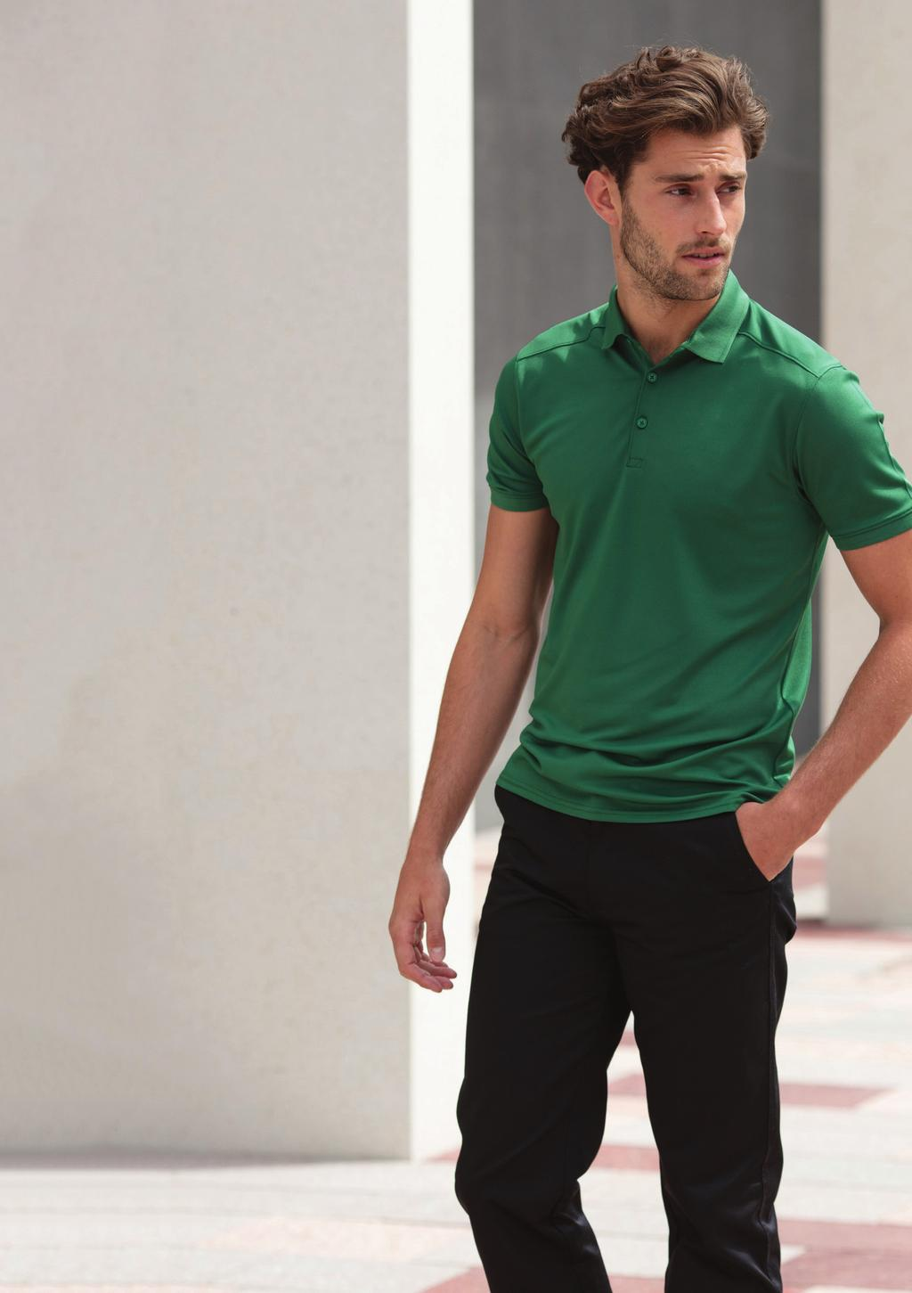 MEN S AND LADIES STRETCH WICKING POLO SHIRTS H460 H461 Stretch wicking fabric technology. Slimmer fit with 3 button placket. Front and back shoulder yoke detail. 1x1 ribbed collar and cuffs.