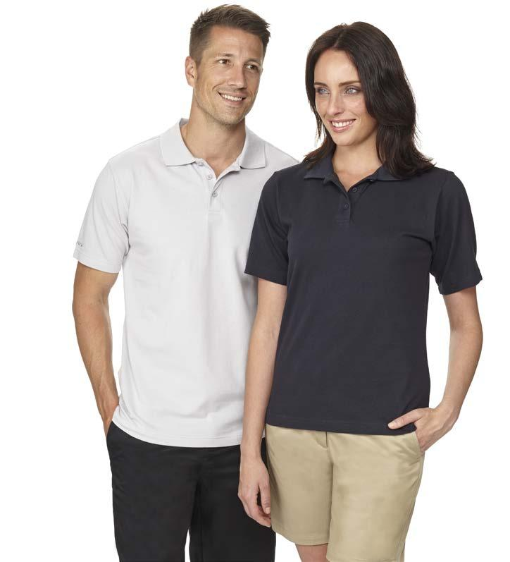 AVAILABLE COLOURS NAVY SILVER BLACK POLOS GL8100 MEN S COTTON POLO > > 100% Cotton Pique Knit 200GSM > > 1 x 1 flat knit collar > > 3 button placket > > Side vents at hem > > Line 7 logo on right