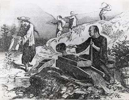 Figure 18 Period illustration of Chinese miners in California Figure 19 Interior of Kam