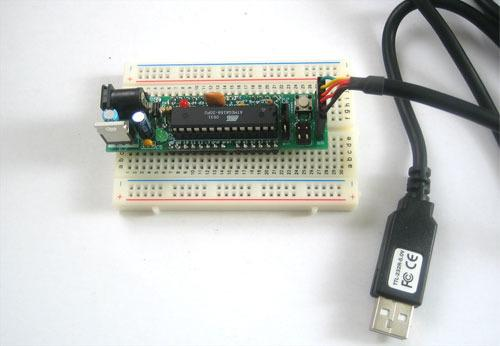 Don't forget to place the jumper into the USB position so you can powr it from the FTDI friend or cable! Arduino Compatibility The bootloader installed is a cross between the NG and Diecimila.