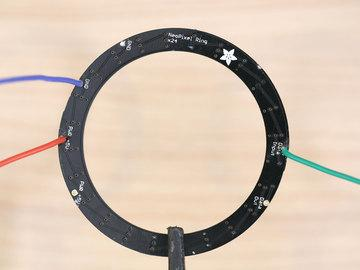 Wire NeoPixel Ring Apply solder to data in, ground and pwr +5V pins on the