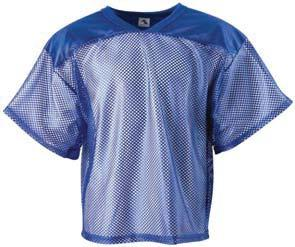 283 284 PORTHOLE MESH FOOTBALL JERSEY 100% polyester porthole mesh body and sleeves 100% polyester dazzle fabric two-ply yoke Rib-knit modified V-neck collar Oversized shoulders and full-cut sleeves